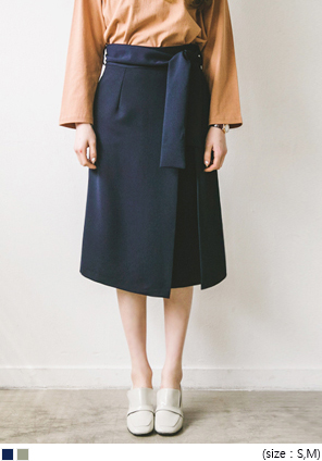 [SKIRT] PINTUCK BELT MIDI SKIRT