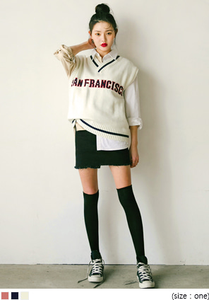 [OUTER] SAN FRANCISCO LETTERING KNIT VEST