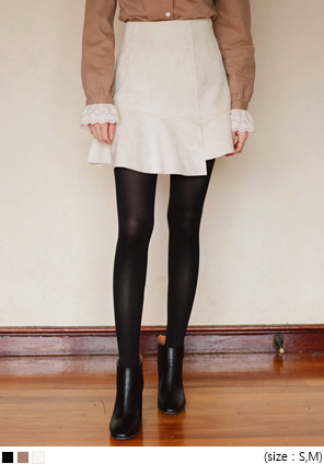 [SKIRT] SUEDE UNBAL MINI SKIRT
