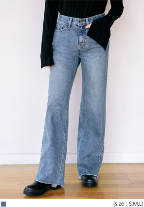 [BOTTOM] HIGH WAIST LONG DENIM PANTS