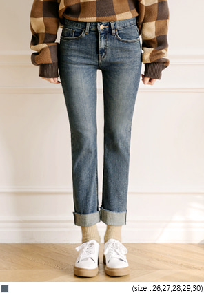 [BOTTOM] HIGH CUTTING DENIM PANTS