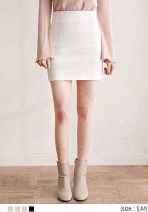 [SKIRT] CREAM H LINE MINI SKIRT