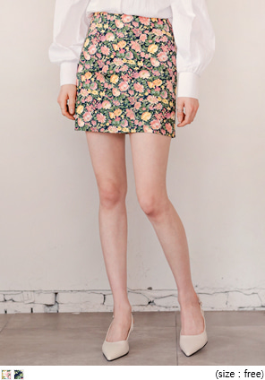 [SKIRT] FLOWER PAINTING H MINI SKIRT