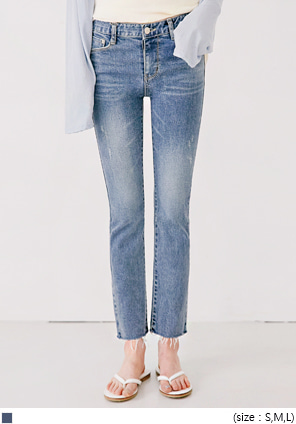 [BOTTOM] STRAIGHT DAMAGE DENIM PANTS