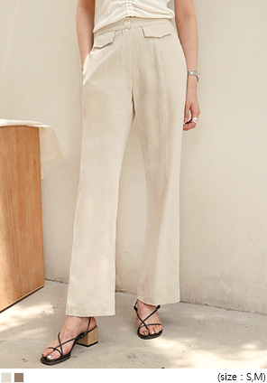 [BOTTOM] FLAP POCKET HIGH LINEN PANTS