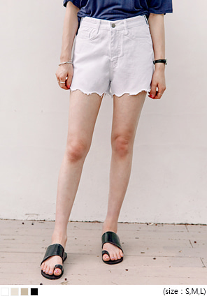 [BOTTOM] WAVE CUTTING COTTON SHORTS