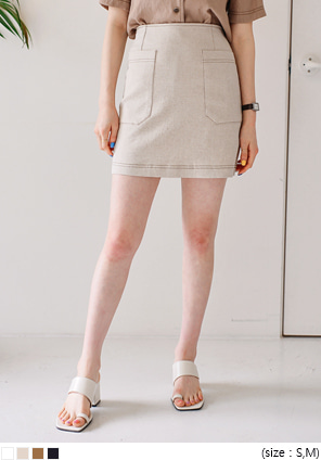 [SKIRT] LINEN STITCH POCKET MINI SKIRT