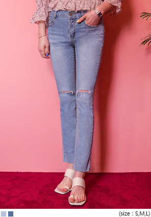 [BOTTOM] CUT OUT STRAIGHT DENIM PANTS