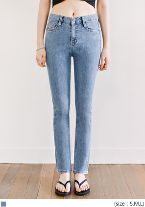 [BOTTOM] BLOCK HIGH WAIST DENIM PANTS