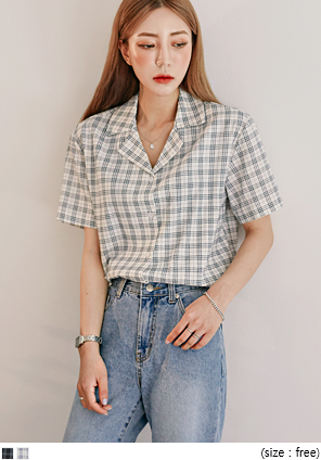 [TOP] FOAMING LINEN CHECK 1/2 SHIRTS