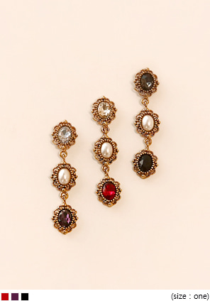 [JEWELRY] BRIGHT CRYSTAL DROP EARRING