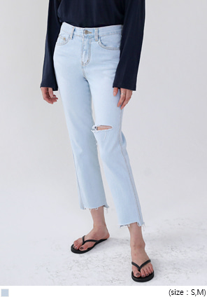 [BOTTOM] COOL DAMAGE CROP DENIM PANTS
