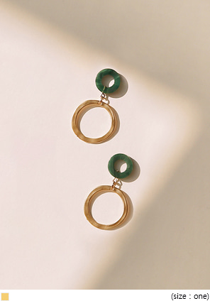 [JEWELRY] MARBLE GOLD DROP EARRING