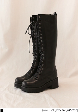 [SHOES] STYLISH LACE-UP LONG BOOTS