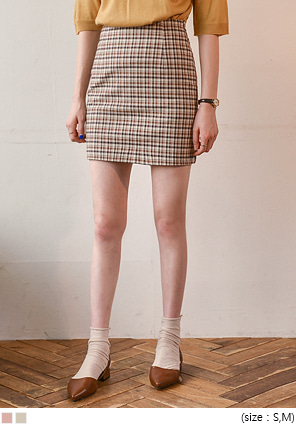 [SKIRT] VINTAGE CHECK H LINE MINI SKIRT