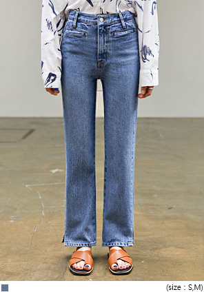 [BOTTOM] LIP POCKET SLIT DENIM PANTS