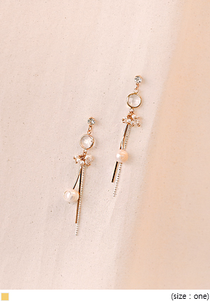[JEWELRY] GOLD STICK PEARL EARRING