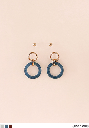 [JEWELRY] MARBLING CIRCLE EARRING SET