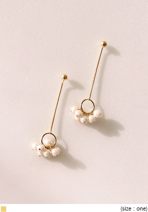 [JEWELRY] GOLD CHAIN PEARL DROP EARRING