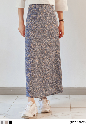 [SKIRT] TIDY FLORAL BANDING LONG SKIRT