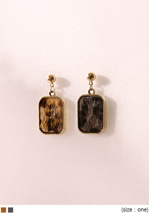 [JEWELRY] LEOPARD SQUARE DROP EARRING