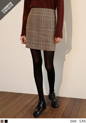[SKIRT] WOOL CHECK SET MINI SKIRT
