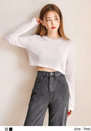 [TOP] BLOW TENCEL CROP T
