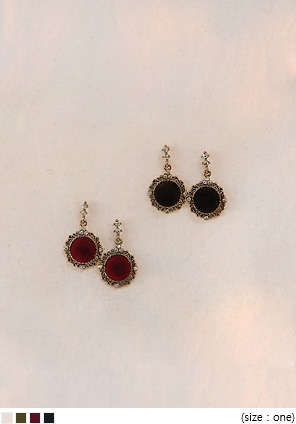 [JEWELRY] VELVET CUBIC DROP EARRING