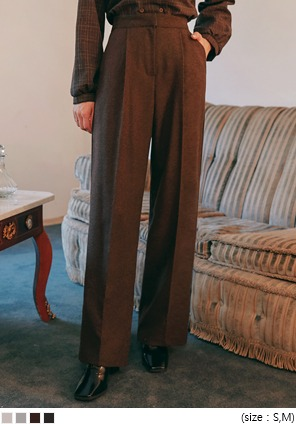 [BOTTOM] BOKASHI WOOL WIDE LONG SLACKS