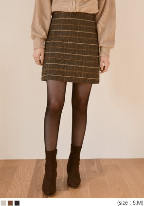 [SKIRT] HERRINGBONE CHECK WOOL MINI SKIRT