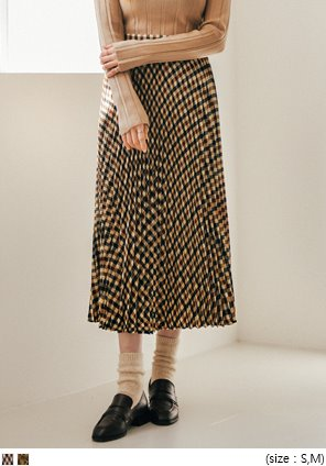 [SKIRT] CHECK PLEATS LONG SKIRT - 2 TYPE