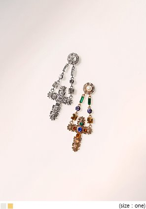 [JEWELRY] SHINE CROSS CUBIC DROP EARRING