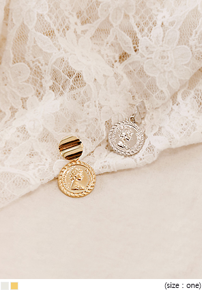 [JEWELRY] COIN CIRCLE DROP EARRING