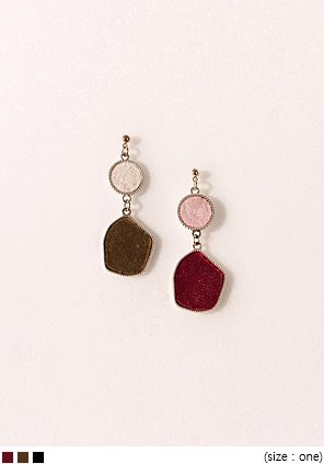[JEWELRY] VELVET COLOR MIX DROP EARRING
