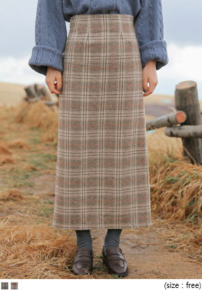 [SKIRT] GLEN CHECK WOOL SLIT LONG SKIRT
