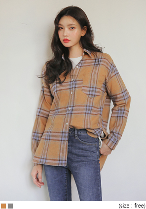[TOP] MAYBE TARTAN CHECK SLIT SHIRTS