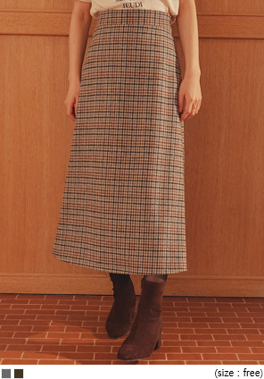 [SKIRT] PLACE WOOL 40% CHECK LONG SKIRT