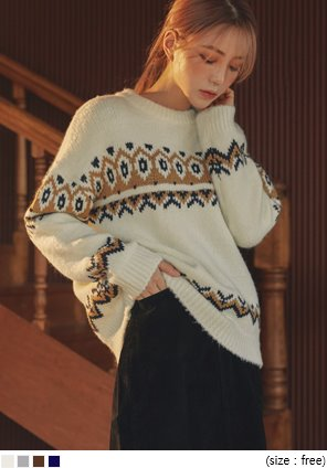 [TOP] NORDIC WOOL ROUND NECK KNIT