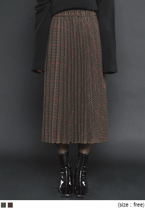 [SKIRT] LATTE CHECK PLEATS LONG SKIRT