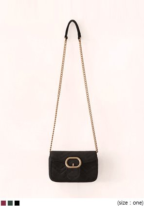 [BAG] OVER GOLD CHAIN VELVET MINI BAG
