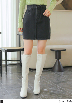 [SKIRT] AURA NAPPING BLACK DENIM MINI SKIRT