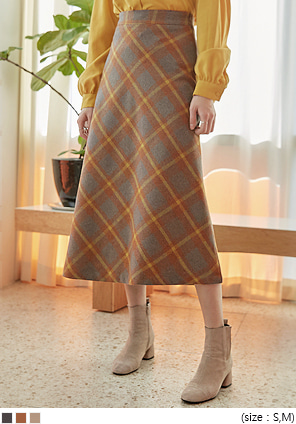 [SKIRT] RICO WOOL CHECK FLARE LONG SKIRT