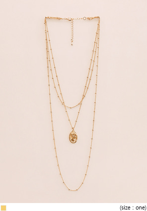 [JEWELRY] ANTIQUE GOLD LAYERED NECKLACE