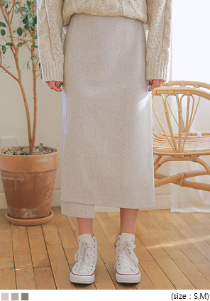[SKIRT] WAY WOOL UNBAL LONG SKIRT