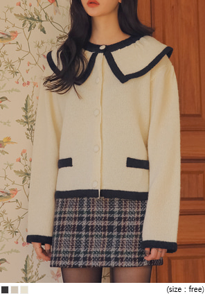 [OUTER] BAY WOOL 50% SAILOR KNIT CARDIGAN