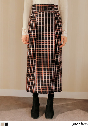 [SKIRT] OLLA WOOL 50% CHECK LONG SKIRT