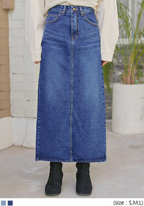 [SKIRT] IMAGE BACK SLIT DENIM LONG SKIRT