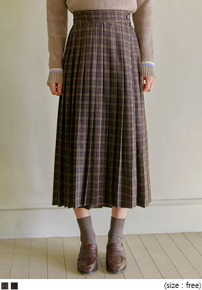 [SKIRT] CHECK WOOL 70% PLEATS WRAP SKIRT