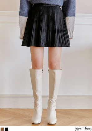[SKIRT] CHESS SUEDE PLEATS MINI SKIRT