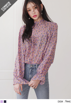 [TOP] PANSY FLOWER SHIRRING BLOUSE